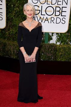 Consistently a star on the red carpet, Helen Mirren opts for form-fitting minimal black.