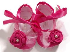 Baby Girl Shoe Victoria in Fuschia Pink, Flower Girl, booties, slippers ,Infant,Toddler, Pre School, Handmade by Pink2Blue.