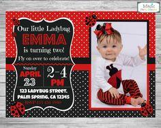 Ladybug invitation Ladybug birthday by MagicPartyDesigns on Etsy Ladybug Birthday Invitations, Tea Party Invitations, Photo Invitations, Birthday Invitation Templates, Personalized Invitations, San Antonio, Ladybug 1st Birthdays, Magic Party, Ladybug Party