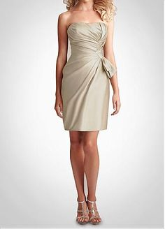 Stunning Strapless Short Bridesmaid Dress.. charcoal may hide flaws along with this kind of material