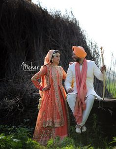 Peach Themed Sihk Bride and Groom