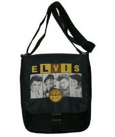 """Celebrity Print Elvis Presley Handbag Messenger Bag Elvis Presley & Sun Approximate Size: 9"""" x 10"""" x 3"""""""