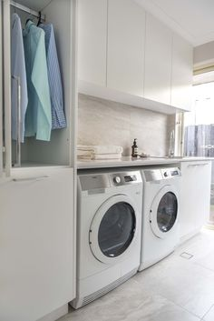 With mirror splashback? Laundry Room Cabinets, Laundry Room Storage, Laundry In Bathroom, Ikea Laundry, Laundry Bin, Laundry Basket, Small Laundry, Interior Design Living Room, Living Room Designs