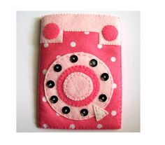 Pink Retro Phone Style. Pink Polka dots iPhone felt case. Gift for her. Cute Kawaii case. Slot in case.