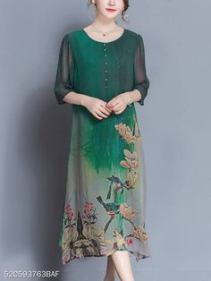 Print Green Silk Women Long Dress Half Sleeve O Neck Loose Maxi Dresses Ladies 2019 Summer Chinese Buttons Vestidos Plus Size Size M Color Green Jute, Vestidos Plus Size, Side Slit Dress, Bird Dress, Half Sleeve Dresses, Straight Dress, Dress Silhouette, Mi Long, Green Dress