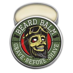 GRAVE BEFORE SHAVE BEARD BALM          2 oz. tin of Beard balm using only the finest oils and butters that are used in all G.B.S. products.  This amazing balm helps to tame your beard reducing those pesky flyaway and unruly hairs, while deeply conditioning and protecting your manly mane!   To use: 1. Scrape out desired amount using the back of your thumbnail.2. Dissolve balm by rubbing between your hands.3. Then apply to your beard with your palms and fingers.4. On...