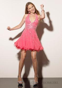 A-line Halter Beading Short Pink Homecoming Dress