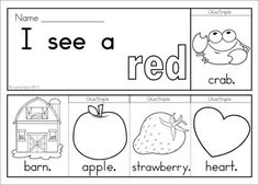 Colors Flip Books (color & black and white). Includes a word work sheet for each booklet. Great paper-saving alternative as each booklet uses only one piece of paper! Kindergarten Language Arts, Kindergarten Learning, Preschool Lessons, Beginning Reading, Beginning Of School, Pre School, Flip Books, Mini Books, Letter E Worksheets
