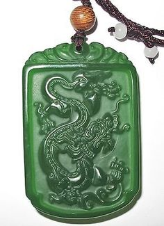 RP: Vintage Antique Chinese Apple Green Jade Dragon Pendant ebay.com