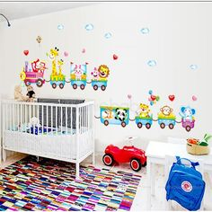 Nursery Wall Sticker - Animal Zoo Train a perfect touch to create the playful vibe for the little one