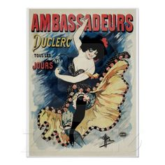 Vintage Ambassadors belle époque French cancan dance ad Print