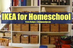 We use IKEA for homeschool organization - baskets, bookshelves, chalkboards and more. Plus a tour of the Hodgepodge homeschool room.