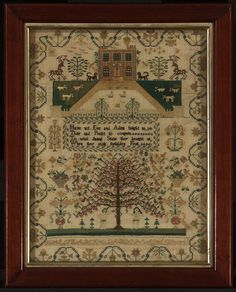 1834 Sampler worked by Elizabeth Labdon (British, born in 1824 British) Embroidery Sampler, Cross Stitch Embroidery, Embroidery Patterns, Cross Stitch Patterns, Embroidery Art, Cross Stitch Love, Cross Stitch Samplers, Cross Stitching, Adam And Eve