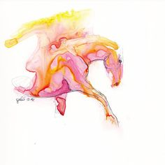 Equine+Nude+61++Ballpoint+Pen+and+watercolor+by+benedictegele,+€55.00
