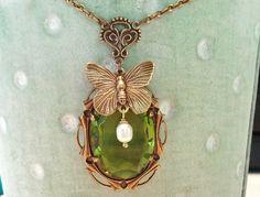 Ketten kurz - *Olivine* Halskette in Bronze-Grün - ein Designerstück von -nicita- bei DaWanda