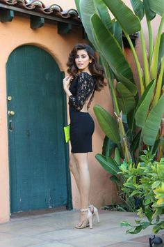 little black dress, lace, black mini dress, hair ideas, outfit ideas, affordable, revolve clothing, NBD cothing, NBD, lovers and friends, neon clutch, sazan, barzani, fashion blogger, what is fashion, celebrity, looks for less, selena gomez style, fall trends, fall outfit ideas, halloween 2014, nude heels, zara trends, street style, pretty bloggers, kardashian, open back, sexy style, shop,