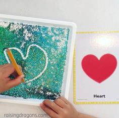 A glitter writing tray is such a fun way to practice drawing shapes in glitter and makes learning shapes, letters and numbers so much fun! Early Learning Activities, Eyfs Activities, Motor Skills Activities, Learning Shapes, Learning Letters, Alphabet Activities, Infant Activities, Fun Learning, Maths Resources