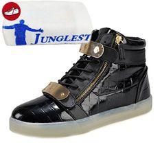 [Present:kleines Handtuch]Golden EU 42, High Lackleder Damen für Aufladen Leuchtend Turnschuhe 7 Sportschuhe Unisex-Erwachsene Größe Schuhe Sneaker Top weise LED 43 Sport