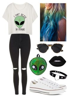 """""""Alien """" by stephouorellana ❤ liked on Polyvore featuring Topshop, Christian Dior, Comeco, Lime Crime and Converse"""