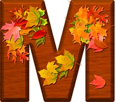 Presentation Alphabets: Cherry Wood Leaves Letter M Monogram Alphabet, Alphabet And Numbers, Crochet Placemats, Fall Fest, Dahlia Flower, Happy Fall Y'all, Colorful Wallpaper, Cellphone Wallpaper, Flower Patterns