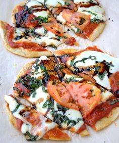 This caprese pizza is so easy to make and it's got so much flavour from fresh basil, fresh mozzarella, and a drizzle of balsamic reduction!