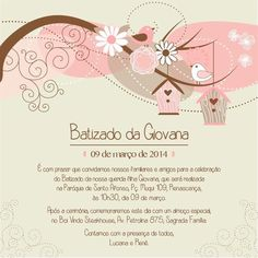 convite-batizado-virtual (2) Baptism Invitations Girl, Maria Clara, Baby Wallpaper, Christening, Alice, Projects To Try, Place Card Holders, Baby Shower, Continue