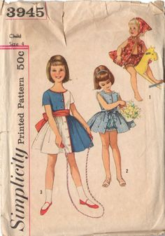 Vintage 1960s Simplicity Pattern 3945 Knee Length Girls Dress with Ruffled Panties Bust 23 Size 4