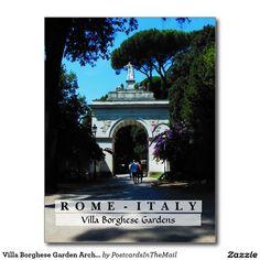 Villa Borghese Garden Arch, Rome, Italy Postcard