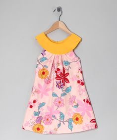 Take a look at this Pink & Yellow Floral Yoke Dress - Toddler & Girls on zulily today!