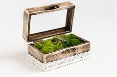 Wedding Ring Box, Glass Ring Box, Rustic Ring Box, Wedding Box With Moss, Engagement Box, Ring Bearer Box, Pillow Alternative, Ring Holder