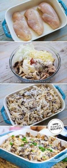 It you are a mushroom lover, YOU NEED THIS RECIPE! This Baked Mushroom Chicken is one of our favorite easy weeknight dinners. No more boring chicken breast recipes! You can make this in just one pan for quick prep and even faster clean up! Serve this with Creamy Mushroom Chicken, Creamy Mushrooms, Stuffed Mushrooms, Top Recipes, Cooking Recipes, Fast Recipes, Oven Recipes, Recipies, Yummy Chicken Recipes