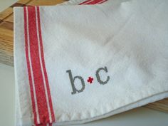 Personalized Tea Towel  vintage style by notsomodernmillie on Etsy