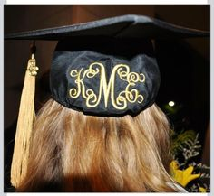 Graduation | Monogrammed / Embroidered grad cap ... simply adorable! Black and gold.