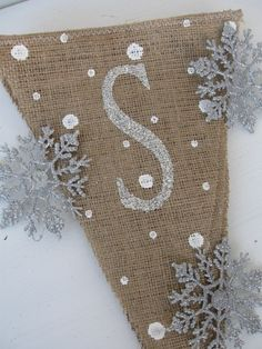 SNOWFLAKES.....Glittered Burlap Banner Pennant Bunting Christmas with snowflake detail-- SO CUTE!