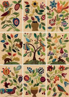 Wool-applique quilt blocks from My Enchanted Garden. Incredible!