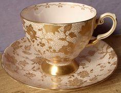 Vintage Tuscan porcelain cup and saucer set set, England 1940s