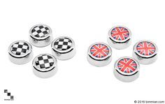 Available In Union Jack And Checkered Flag. -  - MINI License Plate Caps  - Photo #3