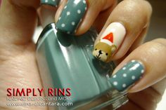Polka Dot Mani with Santa Bear Accent Nail