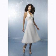 halter tea length wedding dress