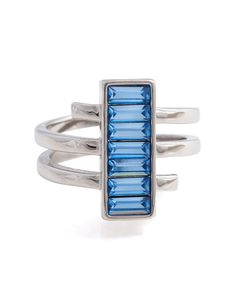 Bring your look into a new phase with our spiral design. Inspired by the ancient moon goddess, this ring twinkles with blue stones and a polished silvertone finish. *Please note this item will ship week of: 5/5. ONLY@JM