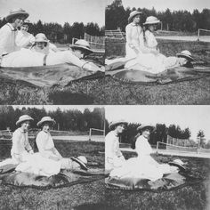 Grand Duchesses Olga, Tatiana and Anastasia Nikolaevna of Russia on vacation in Finland, c. 1913 by historyofromanovs from Instagram