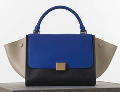 Céline Medium Trapeze Bag in Tricolor Elephant Calfskin $3,100