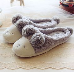New Unisex Fashion Cute Fleece Warm Sheep Animal Soft Indoor Home Slippers Shoes