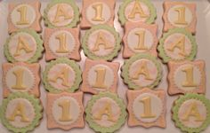Monogrammed number first birthday Decorated Sugar Cookies by I AM the Cookie Lady