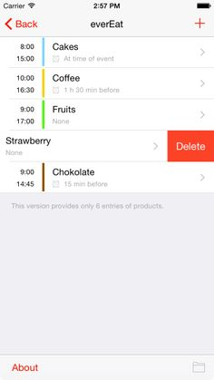 everEat is an app for iOS for control your eating time (products list screen).