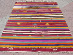 VINTAGE Turkish Kilim Rug Carpet Cicim (embroidered) Handwoven, Natural Wool  70 X 105. $249.00, via Etsy.