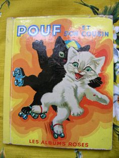 "Vintage french kid's book ""Pouf et son cousin"" - Les albums roses, livre pour enfant - cat kitty kitten Cute"