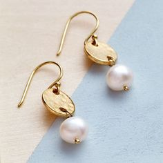 Gold Coin And Pearl Earrings