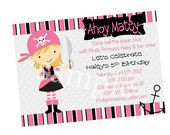 Pirate PRINCESS  - Printable Party PACKAGE - Birthday - PERSONALIZED  - Invitation Thank Yous Cupcake Toppers Bottle Wraps Iron On. $18.00, via Etsy.