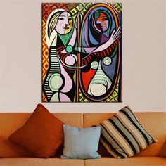 Bigger sizes print oil painting for wall pic Cubism Art GIRL BEFORE A MIRROR Estate Signed & Numbered Abstract Canvas Prints